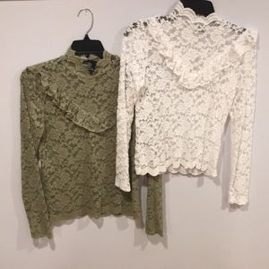 Set of TWO lace turtlenecks, olive/white. L